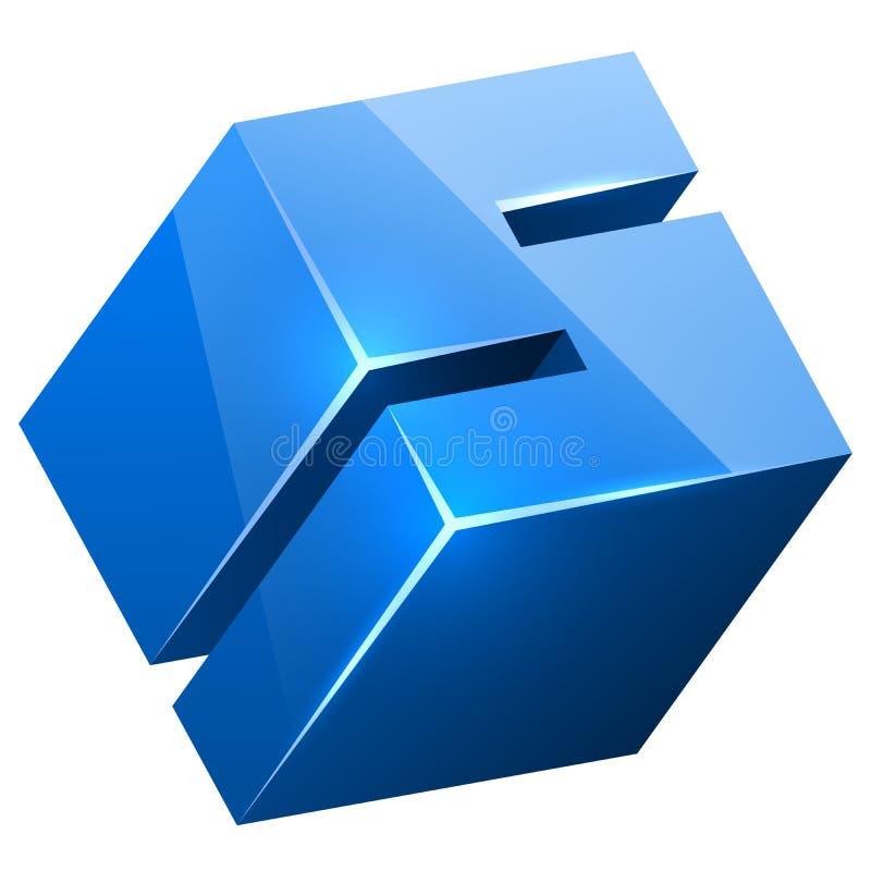 3D blauw glanzend s-teken vector illustratie