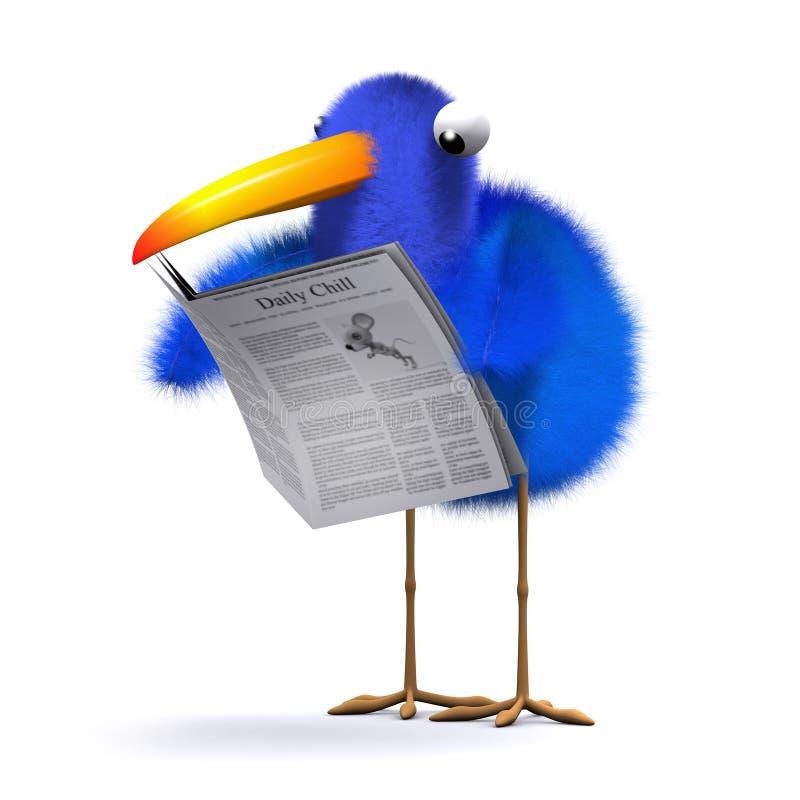 3d Blauw vogelnieuws stock illustratie