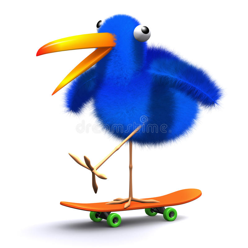3d Blauw vogelskateboard vector illustratie