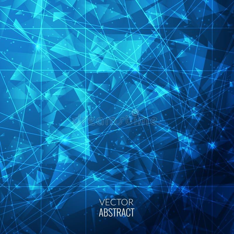 3D Blauwe Abstracte Bedrijfsachtergrond met van van Driehoekencirkels, Lijnen en Vormen EPS10 Ontwerplay-out voor Uw Zaken vector illustratie