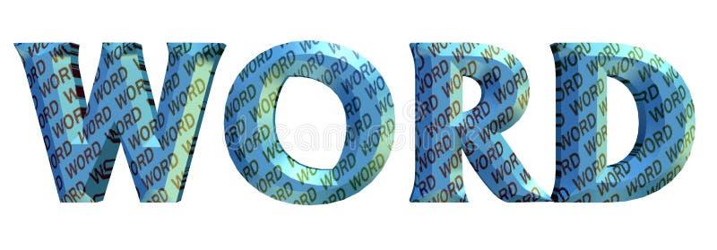 """3D blauwe kleuren word's tekst, binnendieomslag rond met kleuren """"WORD†teksten  op wit worden geïsoleerd royalty-vrije stock afbeeldingen"""