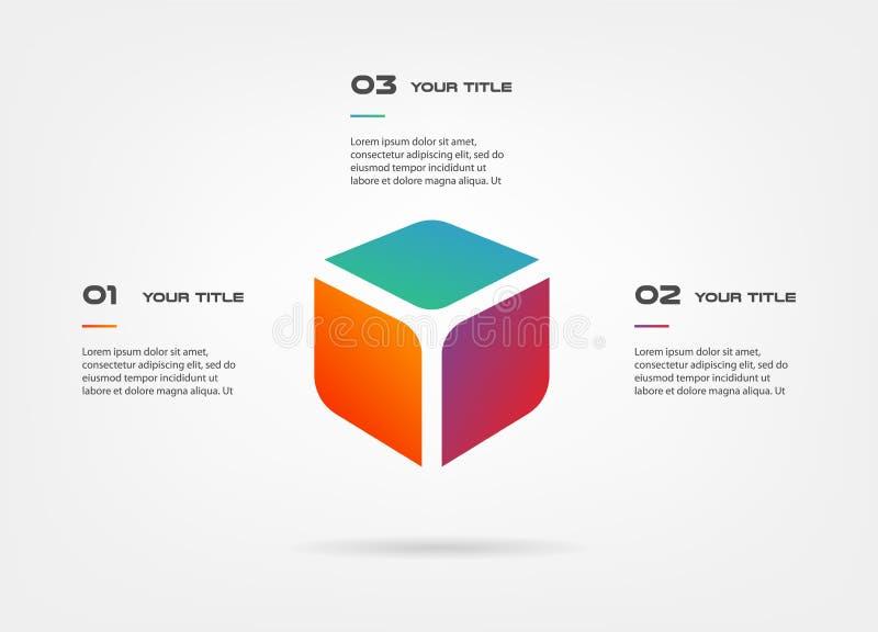3d blocca il infographics per gradi Elemento del grafico, grafico, diagramma con 3 opzioni - parti, processi, cronologia illustrazione vettoriale