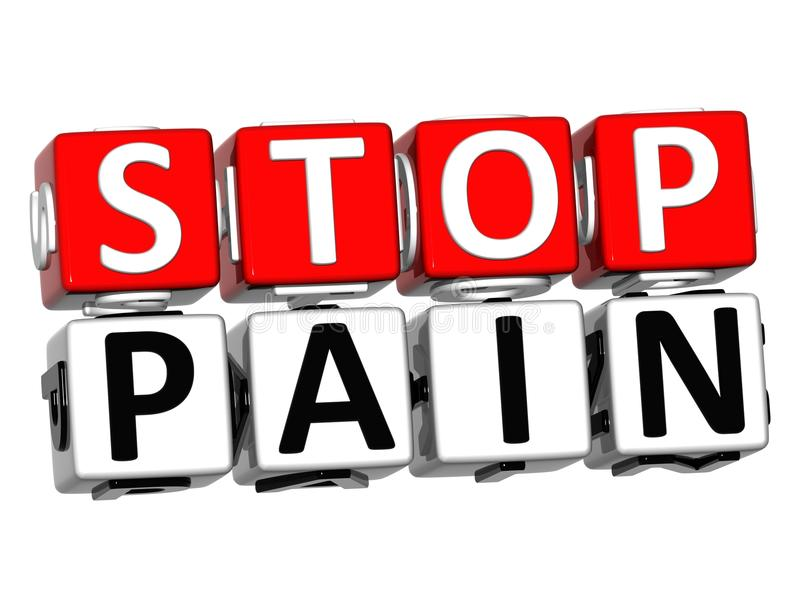 3D Block Red Text STOP PAIN over white background. stock illustration