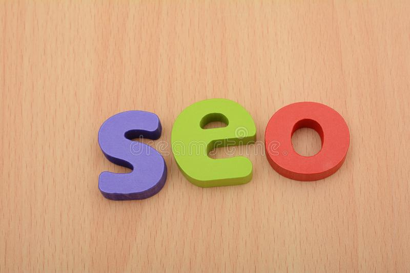 3D Block of SEO words - Internet Marketing concept royalty free stock photo