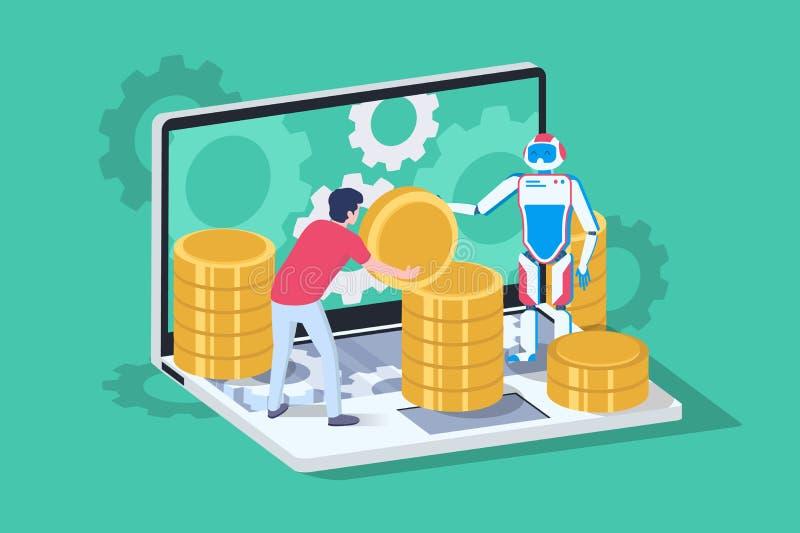3d blockchain isométrico ISO con el servidor, el ordenador portátil, el bitcoin y el hombre con el robot de la ayuda stock de ilustración