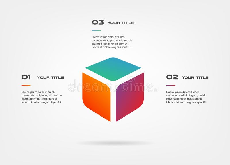 3d blocks infographics step by step. Element of chart, graph, diagram with 3 options - parts, processes, timeline vector illustration
