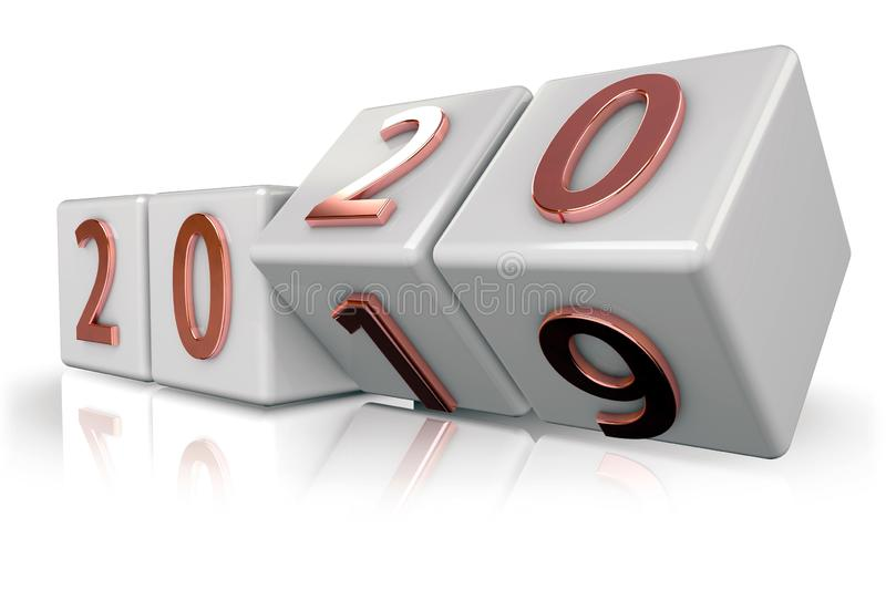 3d Blocks with the transition from year 2019 to 2020.  stock illustration