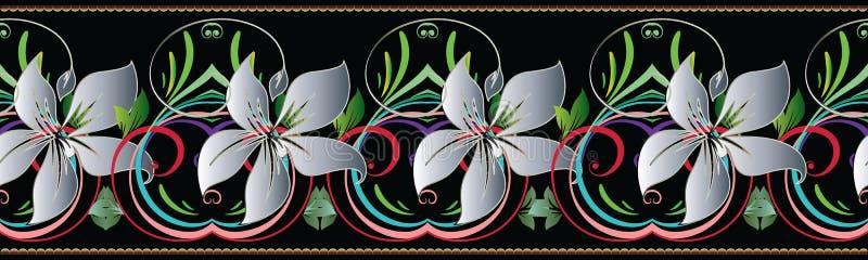 3d bloemen naadloze grens Bloemen Uitstekend Patroon Vectorbloem stock illustratie