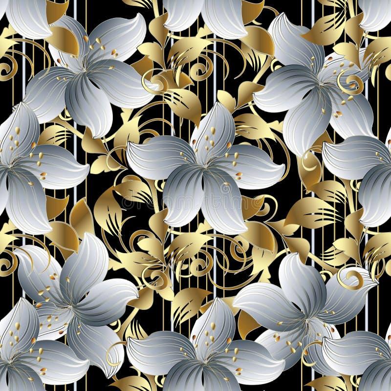 3d bloemen vector naadloos patroon Zwarte gestreepte bloemenbackgro stock illustratie