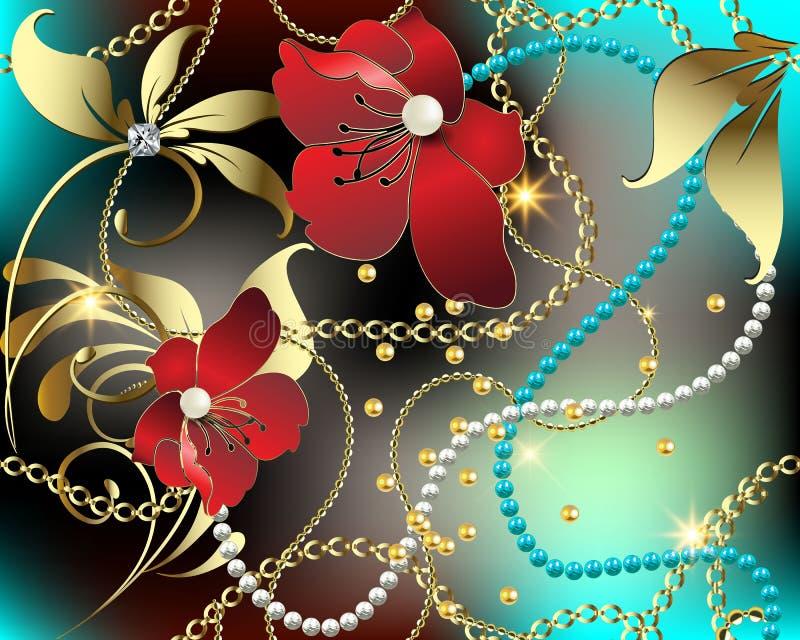 3d bloemen vector naadloze patroon van juwelenhalfedelstenen Kleurrijke overladen gloeiende achtergrond Modern herhaal glanzende  royalty-vrije illustratie