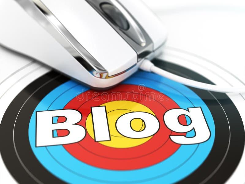 3d blogu pojęcia obrazek odpłacający się Mysz na celu z tekstem ilustracja wektor