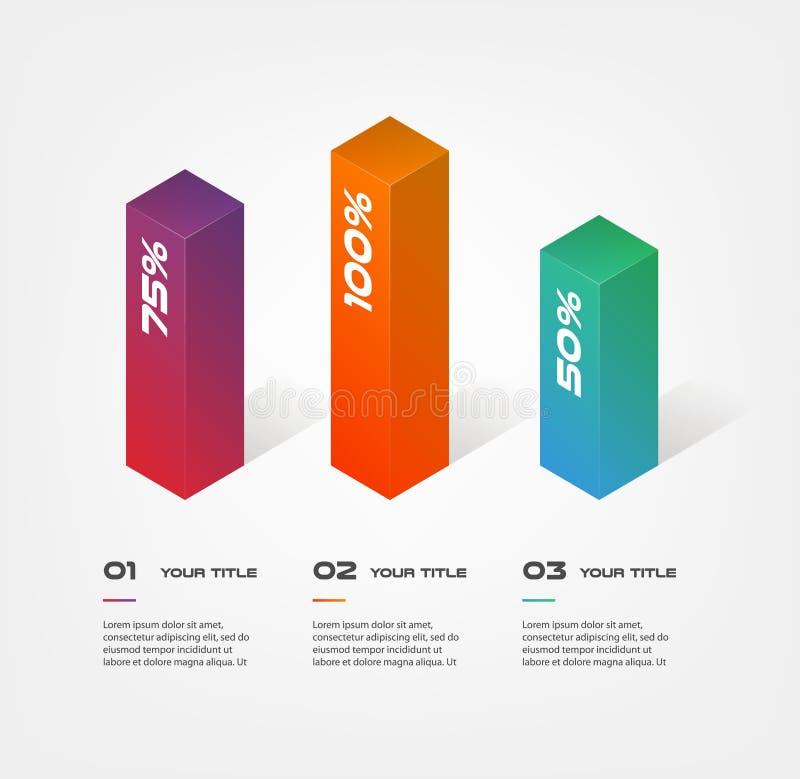 3d blokuje infographics krok po kroku Element mapa, wykres, diagram z 3 opcjami - części, procesy, linia czasu ilustracji