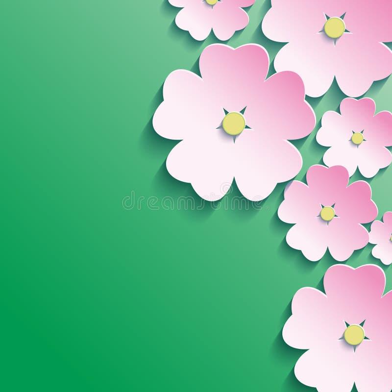 3d blommor, abstrakt blom- bakgrund stock illustrationer