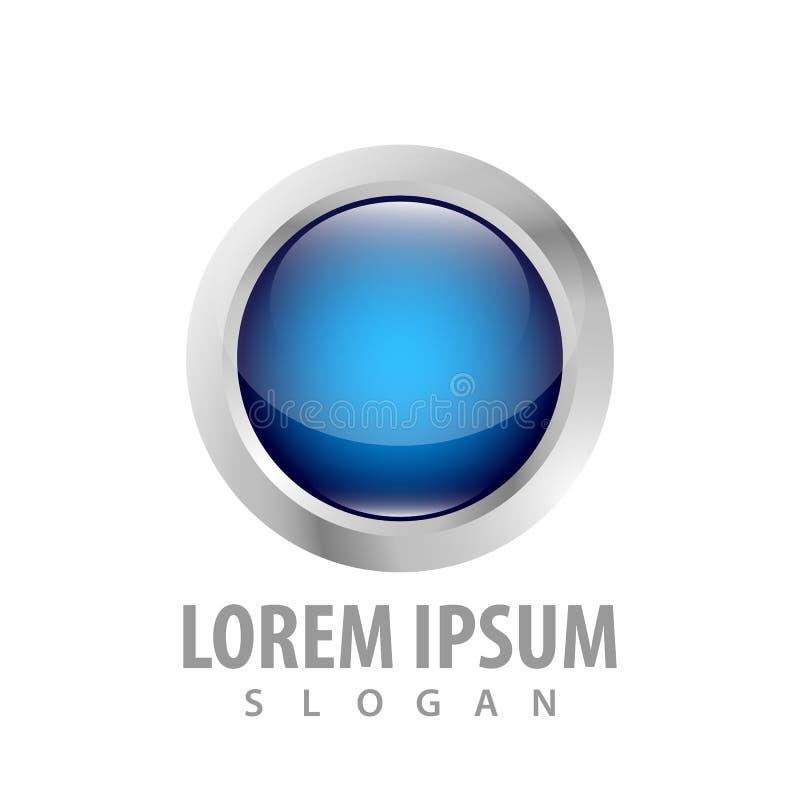 3d blue circle button concept design. Symbol graphic template element vector stock illustration