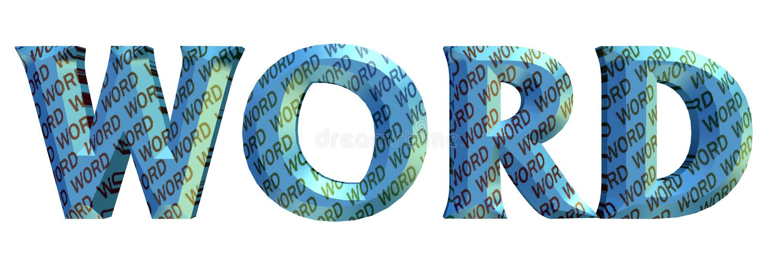 """3D blue color word's text, inside wrap around with color """"WORD"""" texts isolated on white royalty free illustration"""