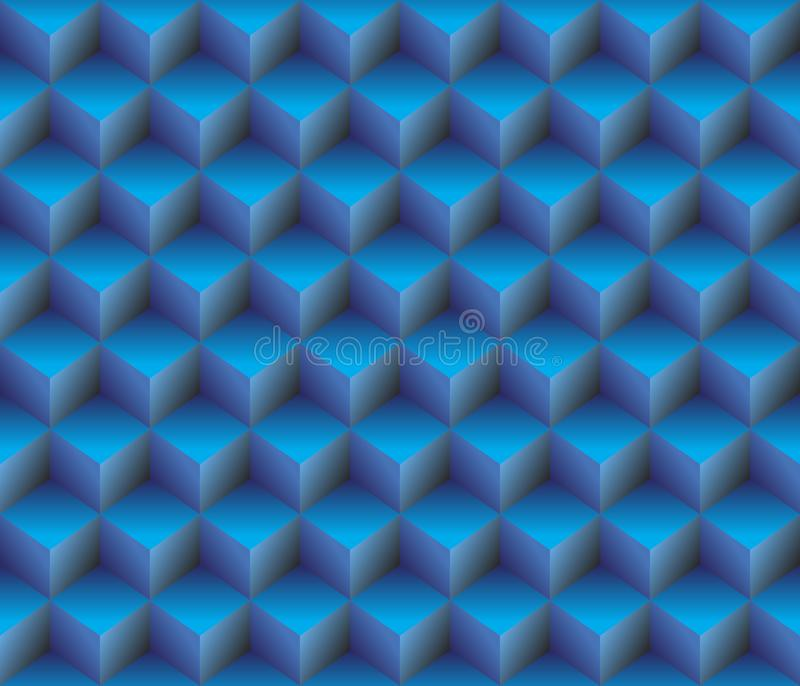 3d Blue contour abstract geometrical cubes seamless pattern background vector illustration