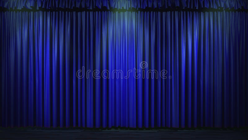 3d blue curtain lit by spot lights.  stock illustration