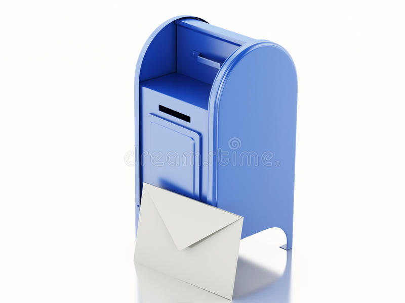 3d Blue mail box with heap of letters. 3d illustration. Blue mail box with heap of letters. Isolated white background vector illustration