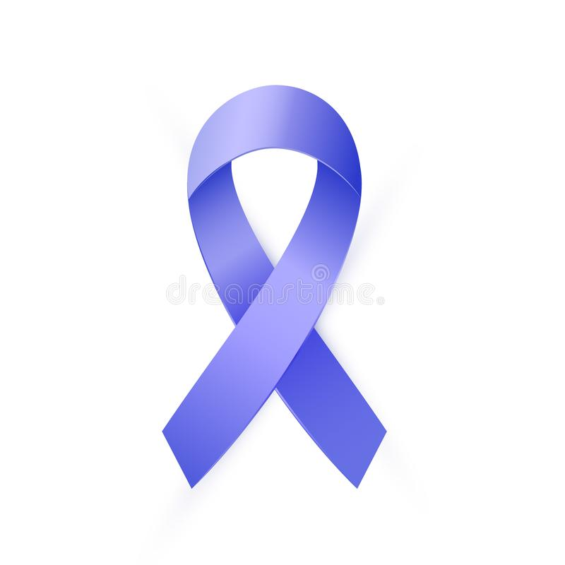 3d Blue ribbon to Colon Cancer and Colo-rectal Cancer Awareness month. Realistic Blue ribbon to Colon Cancer and Colo-rectal Cancer Awareness month. Bright type royalty free illustration