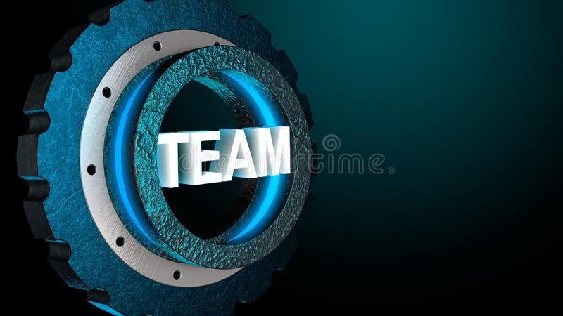 3D blue shine gear with word team. Business concept, copy space. 3D rendering.  royalty free illustration