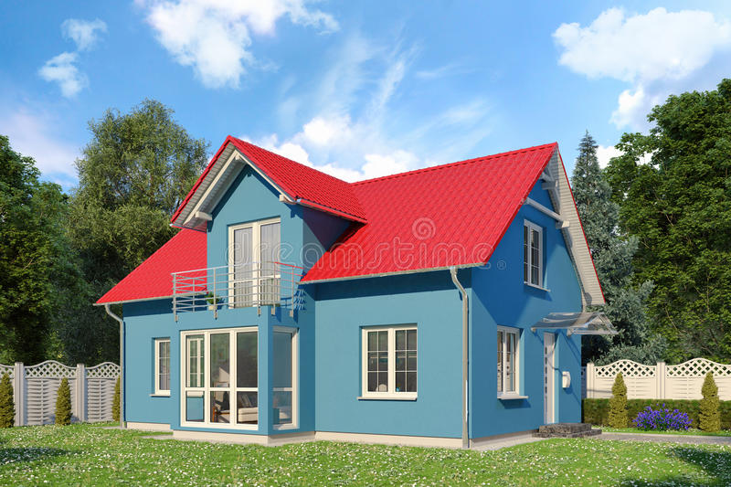 3d - blue single family house - summer - day. 3d render - blue single-family dwelling in blossoming nature in summer on the day royalty free illustration