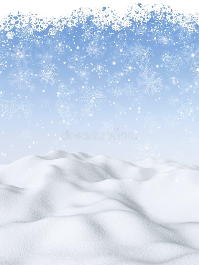3D Bożenarodzeniowy tło z śnieżną sceną ilustracja wektor