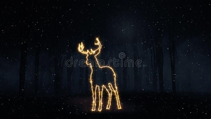 3D Bożenarodzeniowy tło z sparkly jelenim konturem royalty ilustracja