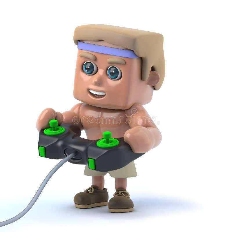 3d Bodybuilder die een videospelletje spelen stock illustratie