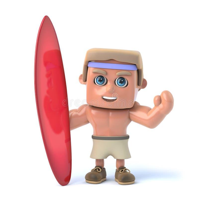 3d Bodybuilder die zich met een surfplank bevinden vector illustratie