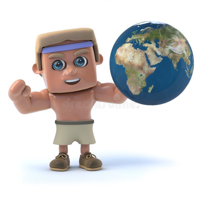 3d Bodybuilder heft een bol van de aarde op stock illustratie