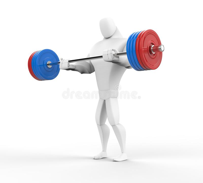 3D bodybuilder het praktizeren barbell krullen stock illustratie
