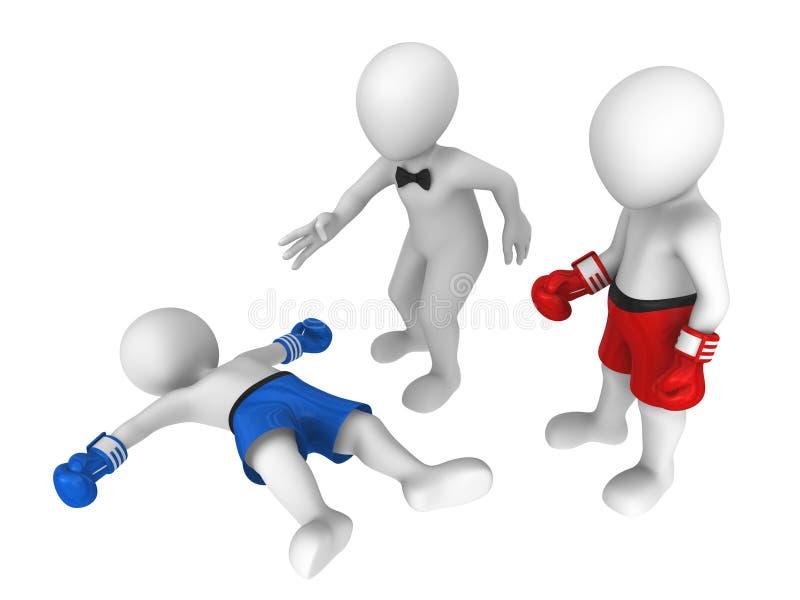 3d boksery nokaut ilustracji