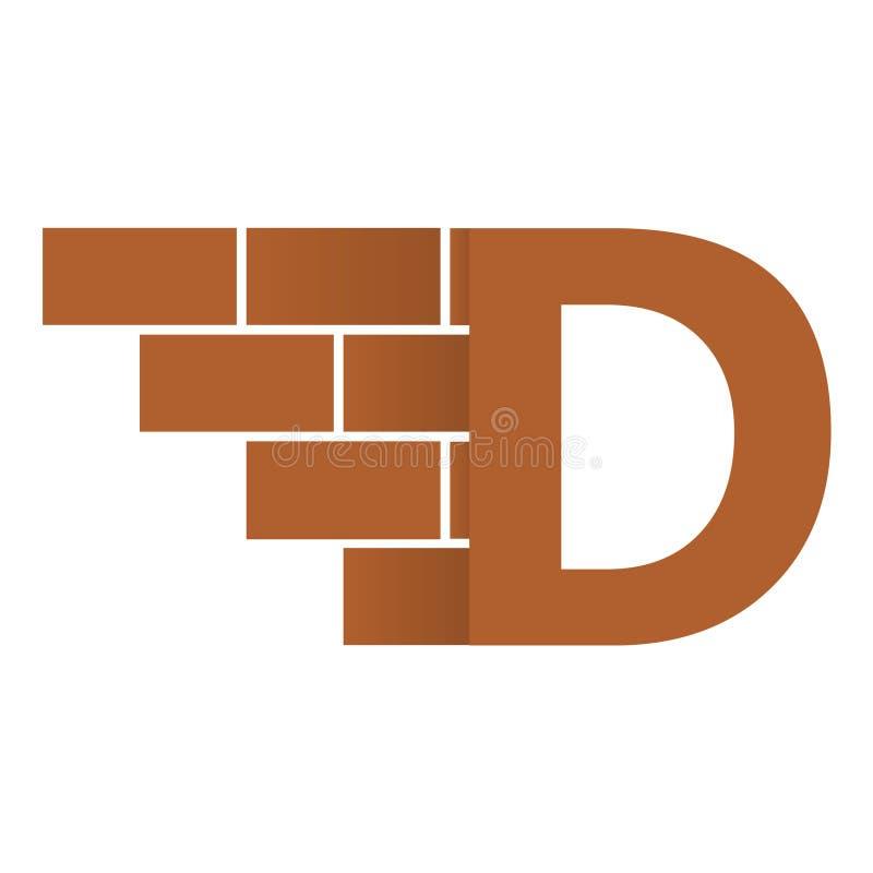 D-bokstavslogo, design för logo för tegelstenvägg med stället för dina data vektor illustrationer