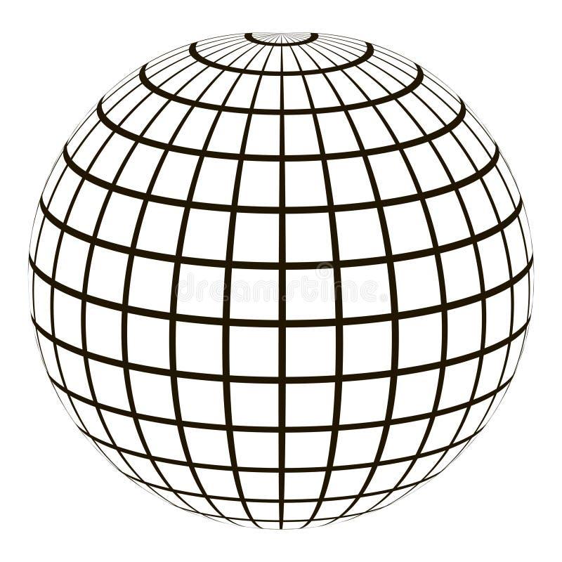 3d bol met een gecoördineerde netmeridiaan en een parallel stock illustratie