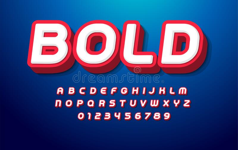 3D bold alphabet. Pop art font, heavy type for modern super hero monogram, prize logo, comic graphic, fun and cool. Poster and banner. Extrude style letter and vector illustration