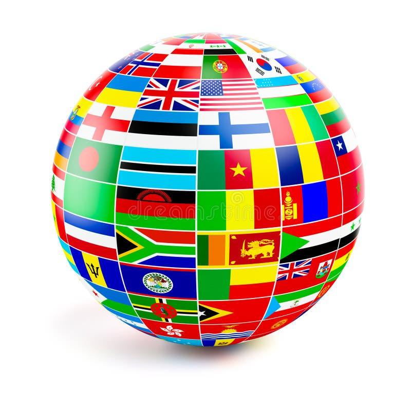 3d bolgebied met vlaggen van de wereld op wit royalty-vrije illustratie
