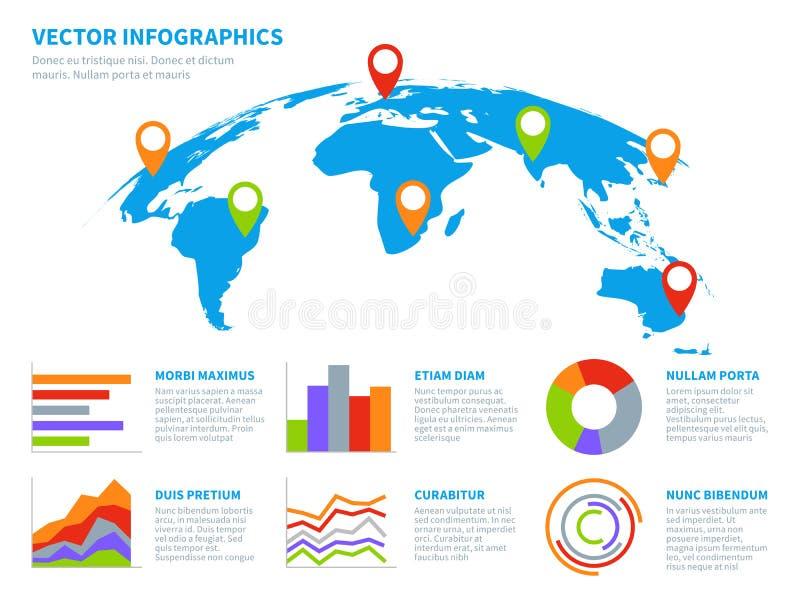 3d bolinfographics Grafische de informatie van de wereldkaart De kaarten van het Infographicdiagram met grafiek Communicatie tech vector illustratie