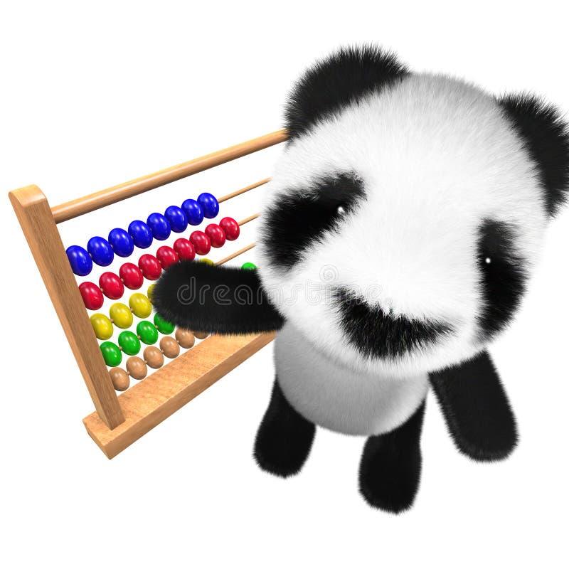 3d bonito e caráter engraçado do urso de panda do bebê que joga com um ábaco ilustração stock