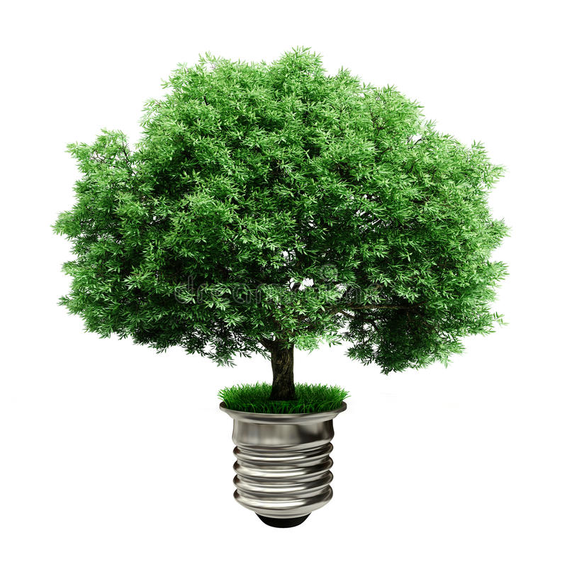 3d boom in een lightbulb, groen energieconcept royalty-vrije illustratie