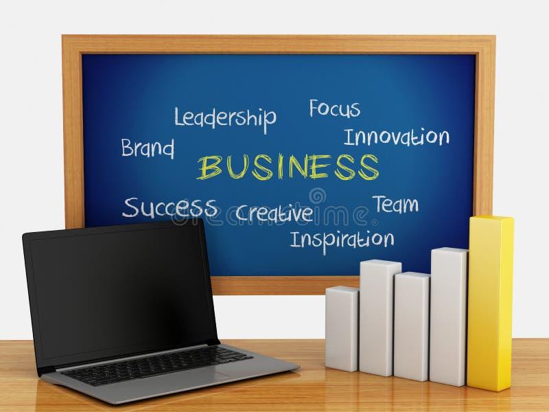 3d bord met bedrijfsgrafiek en laptop PC stock illustratie