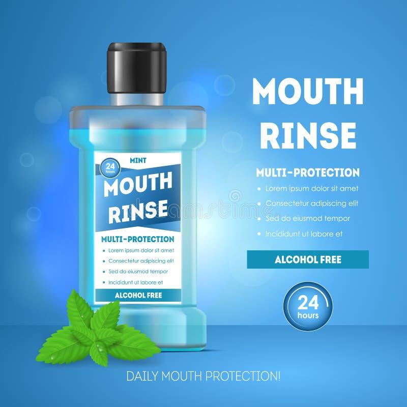 3d bouche détaillée réaliste Rinse Ads Card Poster Vecteur illustration libre de droits