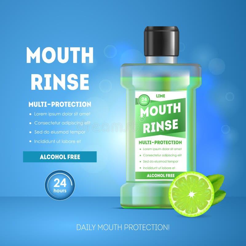 3d bouche détaillée réaliste Rinse Ads Vecteur illustration de vecteur