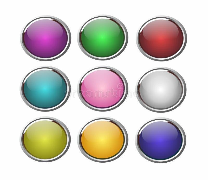 3D boutonne de rétros couleurs illustration de vecteur