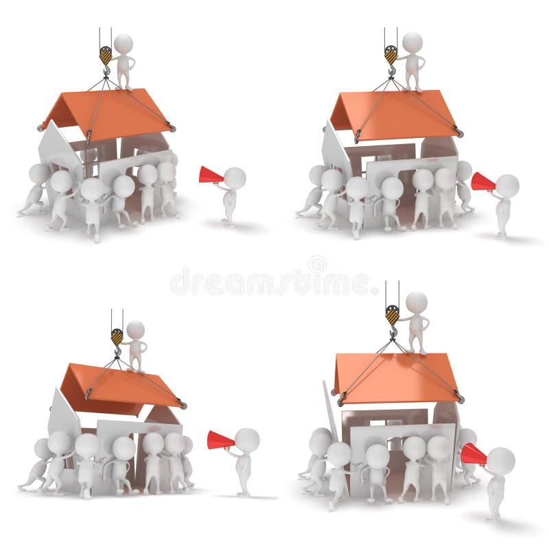 3D bouwkerels die een huis bouwen vector illustratie