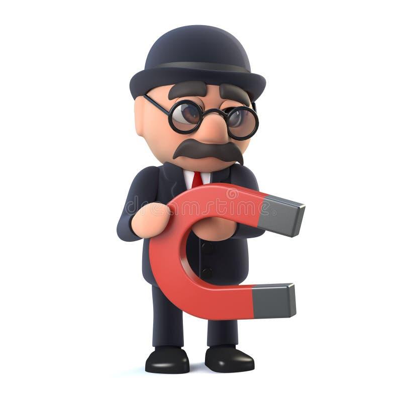 3d Bowlingspeler hatted Britse zakenman heeft een magneet stock fotografie