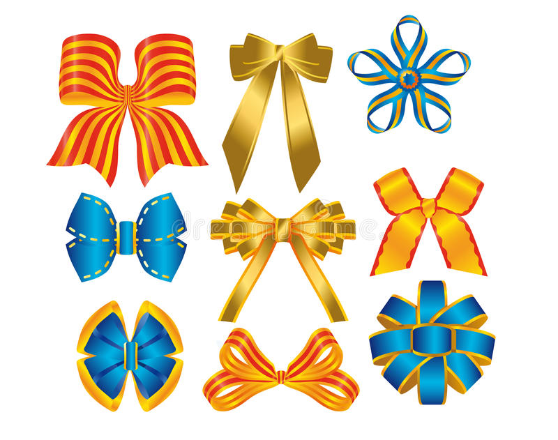 3D bows in shining colors. 3D bows in all shining colors royalty free illustration