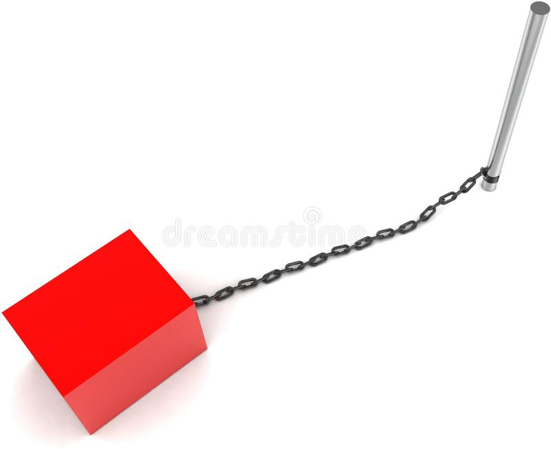 3d box chained to a rod concept stock illustration
