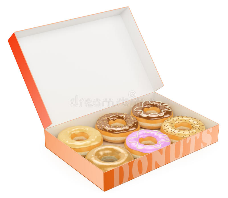 3D Box of donuts. Chocolate Vanilla Strawberry. White background stock illustration