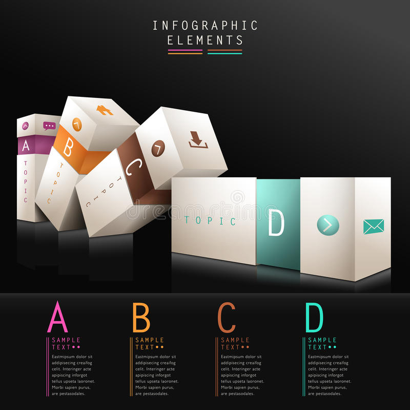 Download 3d box infographics stock vector. Image of colorful, element - 33614414