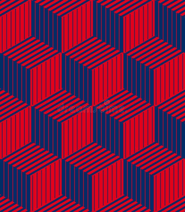 3d boxas den geometriska optiska sömlösa modellen vektor illustrationer